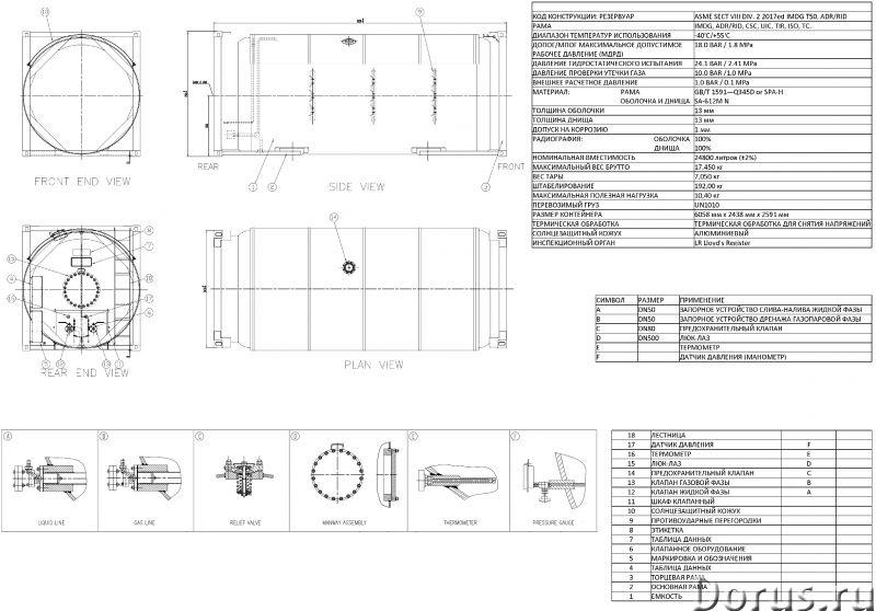 Танк-контейнер тип Т50 объём 24800 литров, для перевозки и хранения СУГ, НОВЫЙ - Промышленное оборуд..., фото 5